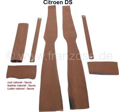 Citroen-DS-11CV-HY B-Säule Verkleidung (links + rechts). Passend für Citroen DS. Material: Leder hellbraun (n