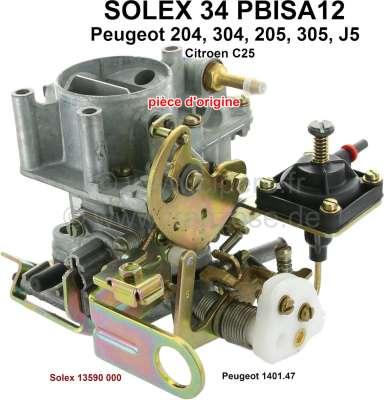 Peugeot P 204/205/305/J5, Vergaser Solex 34PBISA12 (kein Nachbau). Vergaser Durchmesser: 34mm. Pas