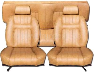 Peugeot P 504C, Sitzbezüge (2x Sitz vorne, 1x Sitzbank hinten). Farbe: Kunstleder helles beige. Pa