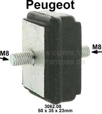 Peugeot Gummi-Silenthalter. Gewinde: M8. Abmessung: 50 x 35 x 23mm. Passend für Peugeot 304, 305,