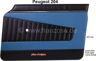Peugeot P 204, Türverkleidung vorne rechts. Farbe: Kunstleder blau-schwarz (turquoise 3172) für Pe