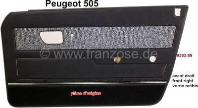 Peugeot P 505, Türverkleidung vorne rechts. Farbe: Kunstleder dunkelblau, Bezug Tweet. Passend für