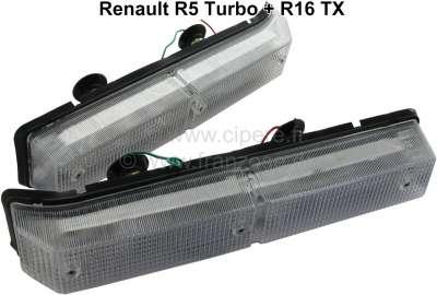 Renault R5/R16, Blinker vorne komplett (2 Stück). Passend für Renault R5 Turbo 1 Venturi + R16 TX.