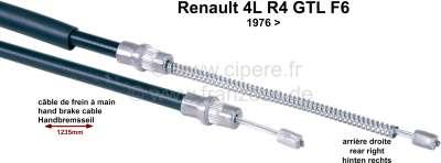 Renault R4, Handbremsseil, hinten rechts. Passend für Renault 4 GTL + R4 F6, ab Baujahr 1976. Tüll