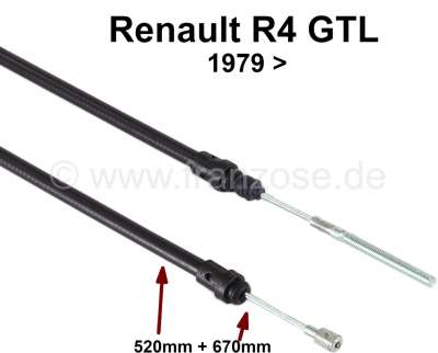 Renault Kupplungszug Renault 4 GTL, F6. Verbaut ab Baujahr 1979. Tülle: 520mm. Gesamtlänge: 670mm.