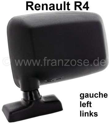 Renault R4, Spiegel links (Kunststoffgehäuse, schwarz). Passend für Renault R4, letzte Ausführung.