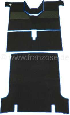 Renault R4, Teppichsatz. Velour schwarz, blau eingefasst (4 teilig). Passend für Renault R4.