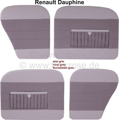 Renault Dauphine, Türverkleidungen Satz (4 Stück). Farbe: Kunstleder grau, mit Kartentasche. Passe