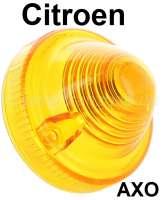 Blinkerkappe gelb (Nachbau, ohne Prüfzeichen), passend für vorne 2CV, DS Break hinten, AK hinten, HY hinten + vorne, R4 alt vorne. Passend für AXO Leuchten. Breiter Leuchtenkragen. Aussendurchmesser 71mm, Befestigungslöcher mitte zu mitte ca. 55mm, Kragenhöhe von innen gemessen: 14,5mm. - 14387 - Der Franzose