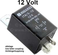 Blinkrelais für Anhängerbetrieb, 12 Volt. Französische Ausführung! Steckerbelegung französisch: Stromversorgung Symbol ( + ). Anschluß Blinker vorne + hinten = Symbol ( C ). Anschluß Kontrollleuchte Armaturenbrett = Symbol ( R ). Falls ein japanisches Relais benutzt wird: Plus + = Symbol X oder B. Anschluß Blinker C = Symbol L. Anschluß Kontrolle R = Symbol P. Anschluß deutsches Relais: 31 = Masse = muss gelegt werden. 49 = Eingangsspannung = +. 49a = Ausgangsspannung zu Blinker = R. C = Kontrollleuchte = C. C2  = Zusätzliche Kontrollleuchte bei AnhängerbetriebZugang = 31 gleich Abgang (Masse). - 14114 - Der Franzose