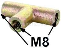Bremsleitung Verbinder (3 Wege Verbinder). Gewinde Bremsleitungsanschluß: M8. Verbaut an vielen Citroen 2CV aus den sechziger + siebziger Jahren. (vorne) | 13235 | Der Franzose - www.franzose.de