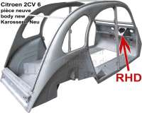 2CV, Karosserie (RHD) Neu! Passend für Citroen 2CV6 RHD (right hand drive). Nur Abholung, kein Versand! Die Karosserie ist komplett aus Neuteilen gebaut worden. Die Qualität der Karosserie ist gut, allerdings sind kleine Nacharbeiten nötig. So müssen einige Schweißpunkte nachgeschliffen werden und der Übergang zum Windschutzscheibenrahmen sollte verzinnt werden. Die Rohbleche (vor der Verarbeitung und Umformung) sind verzinkt. Neu: Jeder Karosserie liegt eine Fotoserie bei, aus denen die korrekte Passform hervorgeht, da die Karosserie immer probeweise mit originalen Blechteilen montiert wird. Made in Europe. - 15010 - Der Franzose