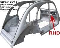 2CV RHD, Karosserie Neu! Passend für Citroen 2CV6 RHD (right hand drive). Nur Abholung, kein Versand! Die Karosserie ist komplett aus Neuteilen gebaut worden. Die Qualität der Karosserie ist gut, allerdings sind kleine Nacharbeiten nötig. So müssen einige Schweißpunkte nachgeschliffen werden und der Übergang zum Windschutzscheibenrahmen sollte verzinnt werden. Die Rohbleche (vor der Verarbeitung und Umformung) sind verzinkt. Neu: Jeder Karosserie liegt eine Fotoserie bei, aus denen die korrekte Passform hervorgeht, da die Karosserie immer probeweise mit originalen Blechteilen montiert wird. Made in Europe. | 15010 | Der Franzose - www.franzose.de
