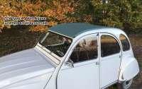 2CV alt, Rolldach lang dunkleres grün (Vert Agave) mit großer Heckscheibe. Ausgelegt für 2CV Karosserien der letzten Version. Die alten Karosserien haben eine ca. 20mm tiefere Traverse. Das muss dann angepasst werden. Außenverschluß. Es liegen 2 Haken (oberhalb der B-Säule) für die Dachbefestigung bei. Dachhaken oberhalb + unterhalb der Heckscheibe (verschraubt an der Karosserie) bei Bedarf extra bestellen! Made in France -2 - 17439 - Der Franzose