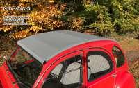 2CV alt, Rolldach grau mit außenliegenden Verschluß. (Außenverschluss).  ( Gris Cormoran ), Normale Heckscheibe. Made in France -2 - 17129 - Der Franzose
