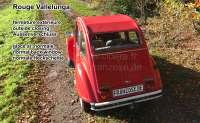 2CV alt, Rolldach rot mit außenliegenden Verschluß. (Außenverschluss)  ( Rouge Vallelunga ). Normale Heckscheibe. Made in France -1 - 17127 - Der Franzose