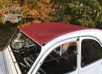 2CV alt, Rolldach rot (Rouille). Aussenverschluß, normale Heckscheibe. Dieses dunklere Rot wurde in den sechziger und siebziger Jahren verbaut. Made in France -2 - 17430 - Der Franzose