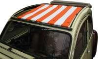 2CV, Sonnensegel orange-hellbeige gestreift. Das Segel wird bei geöffneten Dach eingespannt! Die Ummantelung der mittleren Dachstrebe muss demontiert werden! Passend für Citroen 2CV. -2 - 18249 - Der Franzose