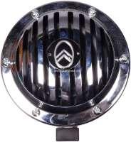 Hupe verchromt, mit Citroen Emblem (das Emblem liegt bei, muss aber angebracht werden). 6 Volt! Sehr schwere Ausführung. Passend für Citroen 11CV, HY, 2CV. Durchmesser: 125mm. Höhe über alles: 80mm. - 60816 - Der Franzose