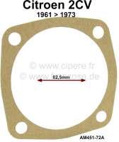Dichtung für Antriebswelle getriebeseitig mit Doppel-Kardangelenk. Passend für Citroen 2CV4 + 2CV6 (ab Baujahr 1961 ca. 1973). Die Dichtung ist aus Papier. Or. Nr. AM451-72A. Innendurchmesser 82,5mm. - 12404 - Der Franzose