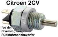 Schalter für den Rückfahrscheinwerfer. Passend für Citroen 2CV6. Dieser Schalter ist als Ersatz für den originalen Schalter, der im hinteren Deckel des Getriebes montiert ist (nicht bei allen Modellen!). Achtung: Der Schalter muss mit der beigelegten Distanzscheibe montiert werden! Gewinde M14x1,5 | 14029 | Der Franzose - www.franzose.de