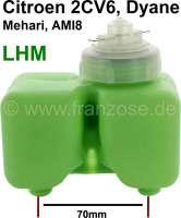 Bremsflüssigkeitsbehälter mit Verschlussdeckel, für das Bremssystem LHM. Passend für Citroen 2CV6 mit vorderer Scheibenbremsanlage. Der Behälter ist grün eingefärbt und hat einen weißen Deckel. Der Anschluß auf dem Hauptbremszylinder ist von mitte zu mitte: 70mm. Or.Nr.: 95554585 | 13058 | Der Franzose - www.franzose.de