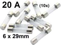 Glassicherung klein, 20A, 6 x 29mm. Nur passend für Sicherungskasten 75309. Packungsinhalt: 10 Stück. | 75333 | Der Franzose - www.franzose.de
