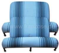 Sitzbankbezug 2CV, für 1 Sitzbank vorne + 1 Sitzbank hinten. Stoff (Bleu Raye 1676) in den Farben hellblau - dunkelblau. (Originales Design aus den siebziger Jahren). Made in France. - 18653 - Der Franzose