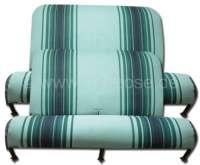 Sitzbankbezug 2CV, für 1 Sitzbank vorne + 1 Sitzbank hinten. Stoff Raye Vert, in den Farben hellgrün-dunkelgrün. (Originales Design aus den siebziger Jahren). - 18656 - Der Franzose