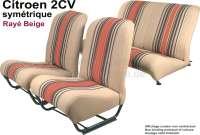 Sitzbezug 2CV6 vorne + hinten. Symetrische Rückenlehnen. Stoff (Beige Raye 1666) in den Farben beige - braun, rot gestreift. (Originales Design aus den siebziger Jahren). -1 - 18850 - Der Franzose