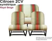 Sitzbezug 2CV6 vorne + hinten. Symetrische Rückenlehnen. Stoff (Beige Raye 1666) in den Farben beige - braun, rot gestreift. (Originales Design aus den siebziger Jahren). - 18850 - Der Franzose