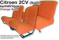 Sitzbezug 2CV (Spot) vorne + hinten. Symetrische Rückenlehnen. Stoff: Orange Spot (Grundfarbe orange gemustert). Für 2 Sitze vorne und 1 Sitzbank hinten. Die Seitenteile sind geschlossen. Made in France. - 18807 - Der Franzose