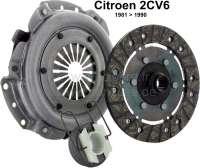 Kupplung komplett, für Citroen 2CV6, von Baujahr 03/1982 bis 1990. Nachbau. Made in EU. 18 Zähne, Durchmesser: 160mm. (Lamellenkupplung) Neuteil. - 10175 - Der Franzose