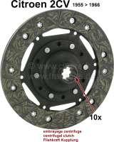 Kupplung Mitnehmerscheibe für 2CV, von Baujahr 1955 bis 1966. 10 Zähne. Durchmesser: 160mm. Passend für Fliehkraftkupplung. - 10328 - Der Franzose