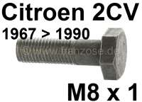 Schwungradschraube M8x1, Länge ca. 28mm. Passend für Citroen 2CV ab Baujahr 1967. Nachbau, per Stück. Achtung: Schwungradschrauben sind Dehnschrauben und sollten immer gewechselt werden, wenn die gelöst wurden. - 10193 - Der Franzose