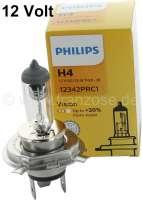 Glühlampe 12 Volt, H4, 55/60 Watt. Hersteller: PHILIPS. Testsieger in vielen Vergleichs-Tests für Oldtimer Scheinwerfer. Beste Ausleuchtung, beste Helligkeit. - 14648 - Der Franzose