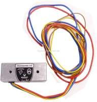 Lichtmaschinen Laderegler (Gleichstrom) 6 Volt. Plus (positiv)Geregelt. Dieser elektronischer Laderegler hat nahezu keinen Eigenverbrauch, dadurch hat Ihre Lichtmaschine ca. 10% Mehrleistung! Made in Germany. Achtung: Nur betreiben, mit angeschlossener Lichtmaschine! Polung der Batterie beachten! Regelspannung: 6 Volt. Reglerstrom max. 50 Ampere (kurzzeitig 90 A). Für Lichtmaschine mit positiven Massepotential, das elektrische Feld ist gegen Plus geregelt! Klemmenbezeichnung: Gelb = DF (Feldwicklung). Braun = Masse oder Batterie minus. Rot = 30/51 Batterie Plus. Blau = D+/61 (Dynamo Plus). Z.B. Citroen 2CV von Baujahr 1962 bis 1970. - 72942 - Der Franzose