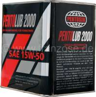 Motoröl Pentolub von Pentosin, 2,5 Liter Blechdose. 15W50. Pentolub 2000 15W-50 ist ein mild legiertes mineralisches Mehrbereichsöl, welches besonders für Fahrzeuge der 70er bis 80er mit einer entsprechend hohen Laufleistung geeignet ist. Bei diesem Produkt handelt es sich um eine Neuauflage des bereits in den 80er Jahren vertriebenen Produktes aus dem Hause Pentosin.  Altöl muss nach der Altölverordnung fachgerecht entsorgt werden. Sie können das Altöl bei den Altölsammelstellen, die zur Rücknahme verpflichtet sind, abgeben und von dort aus wird es dann dem Recyclingsystem zugeführt. Altöl ist ein wichtiger Rohstoff! Literpreis = 6,79 Euro. | 30293 | Der Franzose - www.franzose.de