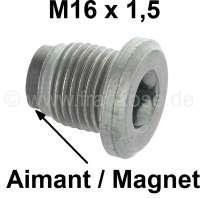 Ölablaßschraube magnetisch, passend für Citroen 2CV, HY, DS, 11CV (mit Ölwanne aus Blech). Innenvierkant. Der passende Werkzeugschlüssel hat unsere Nummer 20221. Or. Nr. A1321M, Gewinde M16x1,5x20 - 60123 - Der Franzose