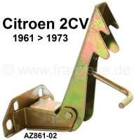 2CV, Motorhaube, Verriegelungshaken komplett. Passend für Citroen 2CV. Verbaut von 1961 bis 1973. Der Motorhaubenverriegelungshaken wird am Chassis angeschraubt. Or.Nr. AZ86102 - 15409 - Der Franzose