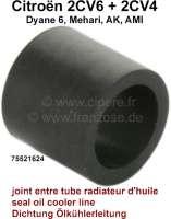 Ölkühlerleitungsdichtung aus Gummi. Per Stück! Das Gummi dichtet die Ölkühlerleitung in der verschraubung im Motorblock ab. Passend für Citroen 2CV6 + 2CV4. Maß: 10,5x13,6x12,5mm - 10015 - Der Franzose