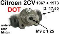 Radbremszylinder hinten, Bremssystem DOT. Passend für Citroen 2CV ab Baujahr 1967 bis 1973. Kolbendurchmesser: 17,5mm. Bremsleitungsanschluß: 9x1,25. Or. Nr. AM45305A. Made in Europe. | 13086 | Der Franzose - www.franzose.de