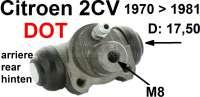 Radbremszylinder hinten, Bremssystem DOT. Passend für 2CV4 + 2CV6, von Baujahr 11/1970 bis 08/1981 (für Fahrzeuge mit Trommelbremse vorne). Kolbendurchmesser: 17,5mm. Bremsleitungsanschluß: 8,0mm. Made in Europe. | 13029 | Der Franzose - www.franzose.de