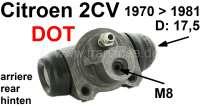 Radbremszylinder hinten, Bremssystem DOT. Passend für 2CV4 + 2CV6, von Baujahr 11/1970 bis 08/1981 (für Fahrzeuge mit Trommelbremse vorne). Kolbendurchmesser: 17,5mm. Bremsleitungsanschluß: 8,0mm. Original Hersteller Valeo bzw. Stop! | 13165 | Der Franzose - www.franzose.de