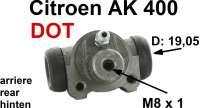 Radbremszylinder hinten, Bremssystem DOT. Passend für Citroen AK400. (Kastenente). Kolbendurchmesser: 19,05mm. Bremsleitungsanschluß: 8,0mm. Nachbau. Made in Europe. - 13046 - Der Franzose