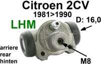 Radbremszylinder hinten, Bremssystem LHM. Passend für Citroen 2CV6, ab Baujahr 9/1981. Kolbendurchmesser: 16mm. Bremsleitungsanschluß: 8mm. Markenfabrikat ATE. Wir haben den ATE Radbremszylinder in unser Programm aufgenommen, da bei allen anderen Zylindern die Qualität in den letzten Jahren stark nachgelassen hat. Mit ATE hatten wir bisher nur gute Erfahrung gemacht. Aber es kostet auch etwas mehr. | 13211 | Der Franzose - www.franzose.de