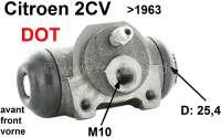 Radbremszylinder vorne, Bremssystem DOT. Passend für Citroen 2CV, bis Baujahr 1963. Kolbendurchmesser: 25,4mm (1 Zoll). Bremsleitungsanschluß: M10 x 100. | 13077 | Der Franzose - www.franzose.de