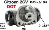 Radbremszylinder vorne, Bremssystem DOT. Passend für Citroen 2CV, von Baujahr 1973 bis 9/1981. Kolbendurchmesser: 28,5mm. Bremsleitungsanschluß: 8,0mm. Made in Europe. | 13030 | Der Franzose - www.franzose.de