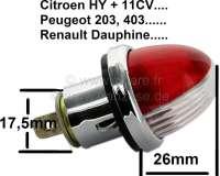 Parkleuchte, passend für Citroen 11CV, HY. Peugeot 203, 403. Renault Dauphine usw.. Per Stück! Farbe: Rot-Weiß. Einbauöffnungsdurchmesser: 17,5mm, Fassung Ba9S. Diese Leuchte kann auch universal verbaut werden. Z.B Citroen 2CV. Or. Nr. 721119 - 60726 - Der Franzose