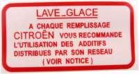 Aufkleber für den Wasserbehälter, für die Scheibenwaschanlage. Citroen 2CV, Dyane, AMi, CX, VISA - 16994 - Der Franzose